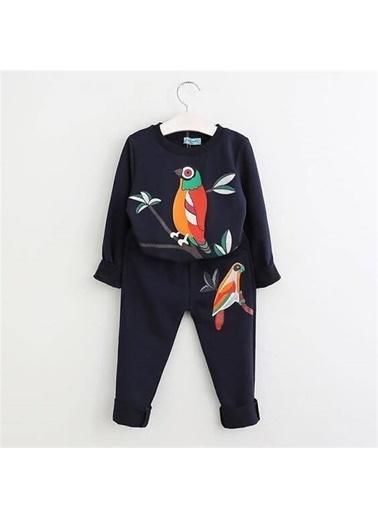 Quzucuk Kids Kız Çocuk Papağan Desenli Siyah Eşofman Takımı Renkli
